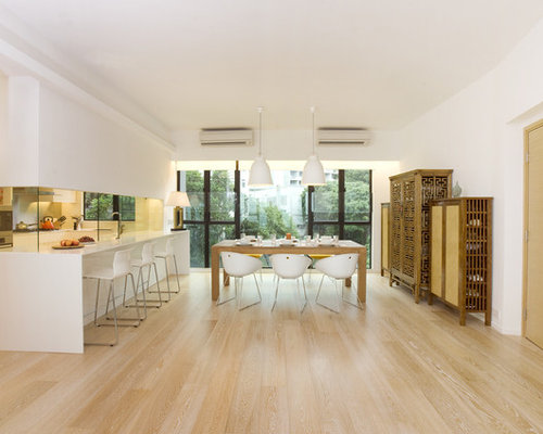 Trendy Kitchen Dining Combo Photo In Hong Kong With Beige Floors