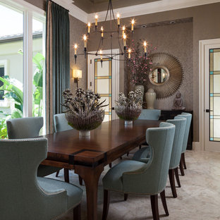 Свежая идея для дизайна: столовая в стиле современная классика с серыми стенами, бежевым полом и ковровым покрытием - отличное фото интерьера
