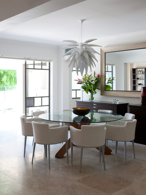 This Is An Example Of A Mid Sized Contemporary Dining Room In Sydney With  White