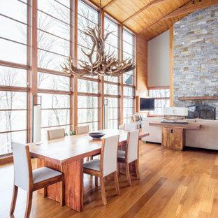 Immagine di una sala da pranzo aperta verso il soggiorno rustica con pavimento in legno massello medio, soffitto a volta, soffitto in legno e pareti in legno