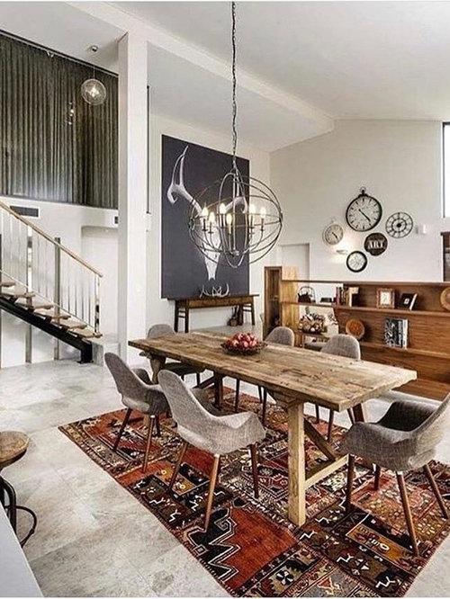 rustikale esszimmer mit porzellan bodenfliesen ideen. Black Bedroom Furniture Sets. Home Design Ideas