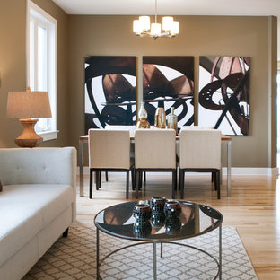 Example of a mountain style light wood floor great room design in Ottawa with beige walls