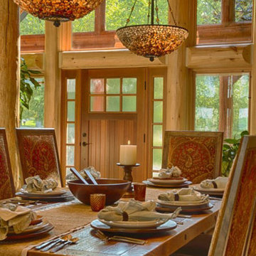 Rustic dinning room table in large log home