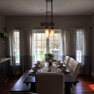 Diseño de comedor de cocina rústico, pequeño, con paredes azules y suelo de madera en tonos medios