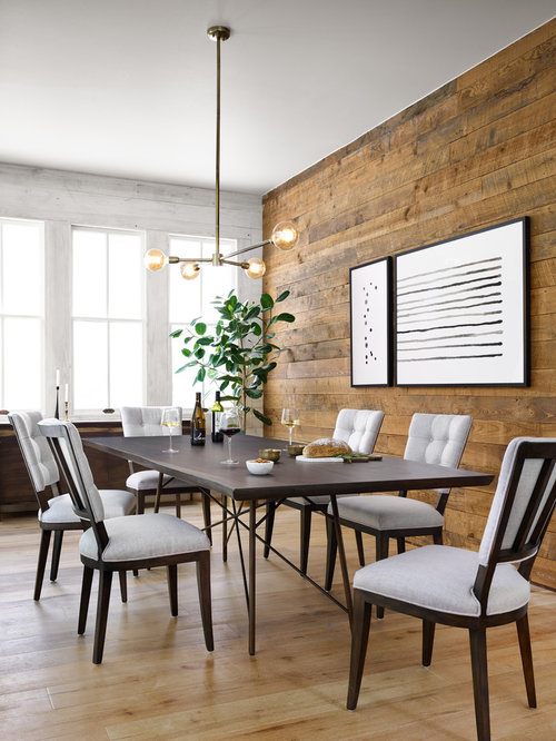Example Of A Transitional Medium Tone Wood Floor And Brown Dining Room Design In Dallas