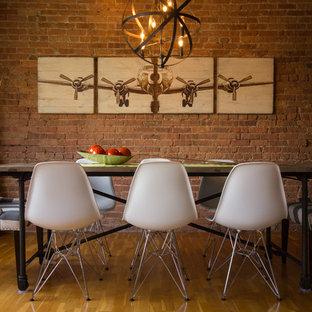 Rustic modern dining room in Chicago industrial loft