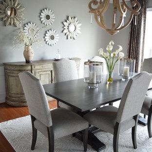 Foto de comedor de cocina rústico, de tamaño medio, con paredes grises