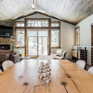 Diseño de comedor de cocina rural, de tamaño medio, con paredes grises, suelo de madera en tonos medios, chimenea de esquina, marco de chimenea de piedra y suelo gris