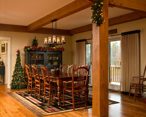Inspiration For A Timeless Dark Wood Floor Dining Room Remodel In Boston With Beige Walls