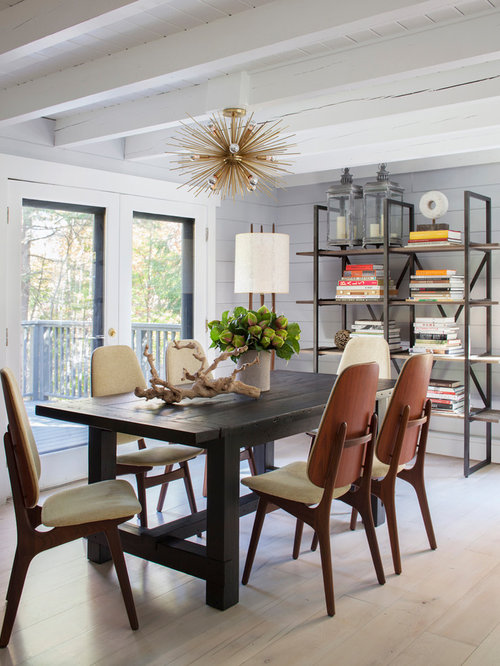 Example Of A Mountain Style Beige Floor Dining Room Design In New York With  Gray Walls