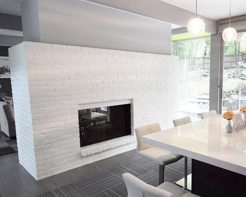 Salle manger ouverte sur la cuisine moderne avec un for Cheminee cuisine moderne