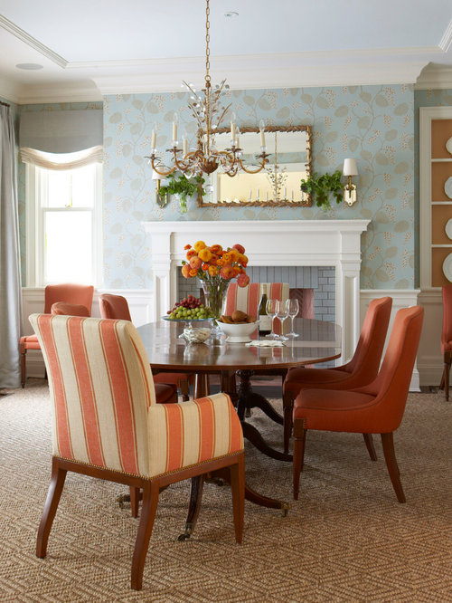 inspiration for a timeless dining room remodel in new york with blue walls and a standard - Traditional Dining Room