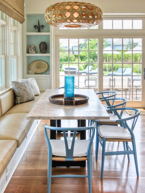 Good Coastal Medium Tone Wood Floor Dining Room Photo In New York