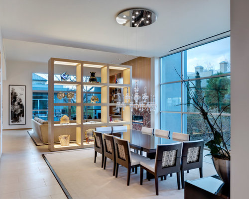 Inspiration For A Contemporary Dining Room Remodel In Dallas With White Walls