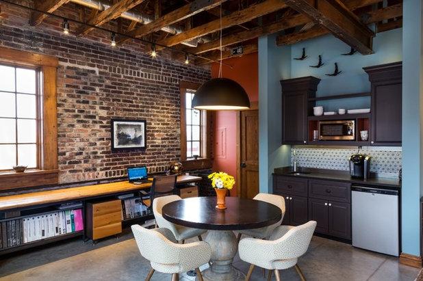 Industrial Dining Room by Salt Creek Interior Design LLC