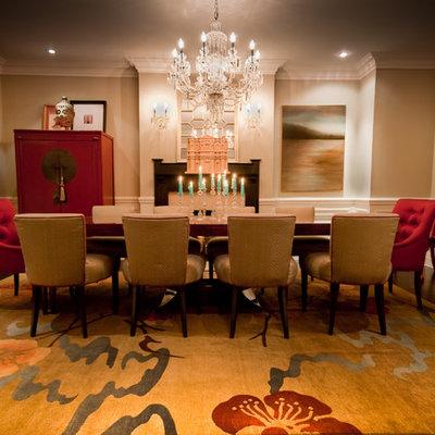 Dining room - traditional dark wood floor dining room idea in Toronto with beige walls