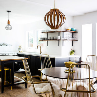 Inspiration For A Midcentury Modern Light Wood Floor Kitchen/dining Room  Combo Remodel In Los