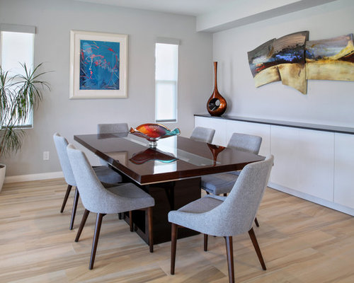 Mid Sized Contemporary Porcelain Floor And Beige Floor Dining Room Idea In  Orange County With