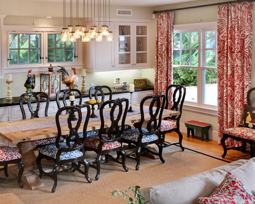 Country Kitchen Dining Room Combo Photo In Orange County With Beige Walls And Medium Tone