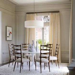 Trendy dark wood floor dining room photo in San Francisco with beige walls