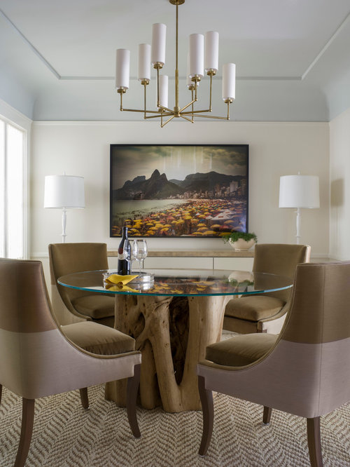 Transitional beige floor dining room idea in San Francisco with white walls : circa lighting - azcodes.com