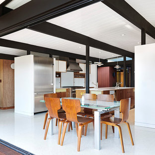 Immagine di una piccola sala da pranzo aperta verso la cucina moderna con pareti rosse, pavimento in vinile, nessun camino e pavimento bianco