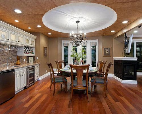 Elegant Dark Wood Floor Kitchen Dining Room Combo Photo In San Francisco With Brown Walls