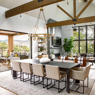 Great room - large transitional light wood floor and brown floor great room idea in Orange County with white walls