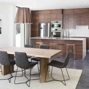 Amazing Inspiration For A Modern Concrete Floor And Gray Floor Kitchen/dining Room  Combo Remodel In