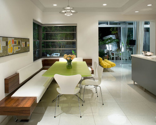 Mid Sized Trendy Kitchen Dining Combo Photo In Miami With Ceramic Floors White