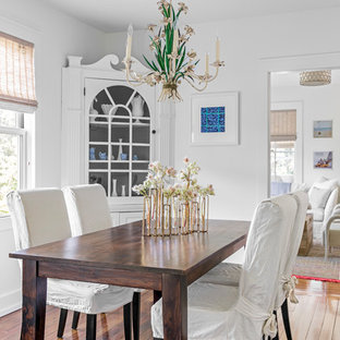 Inspiration For A Small Beach Style Medium Tone Wood Floor Enclosed Dining  Room Remodel In Boston