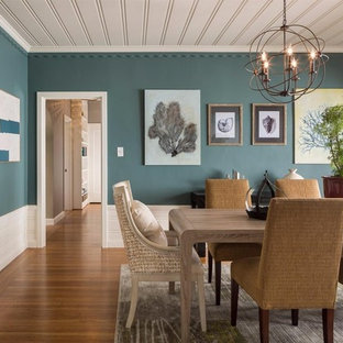 Example Of A Large Country Medium Tone Wood Floor Enclosed Dining Room Design In San Francisco