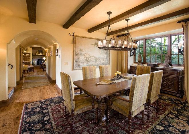 Mediterranean Dining Room by Sesshu Design Associates, Ltd