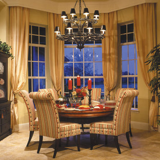 Large farmhouse ceramic tile enclosed dining room photo in Miami with beige walls and no fireplace
