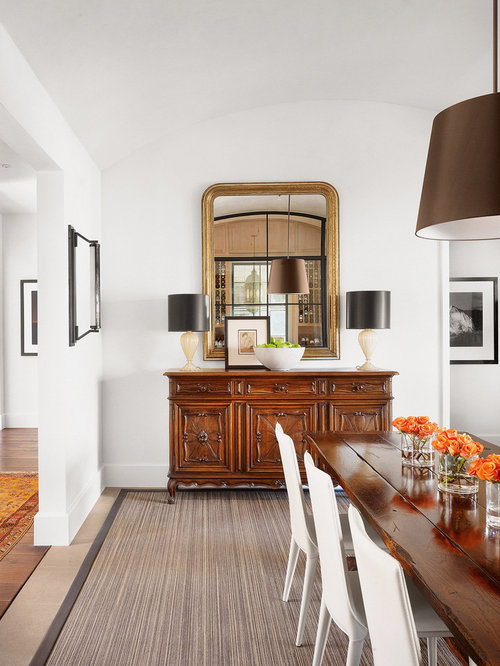 Inspiration For A Contemporary Dining Room Remodel In Austin With White Walls