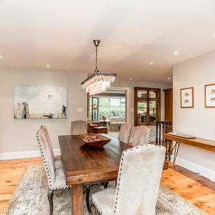 Imagen de comedor de estilo de casa de campo, de tamaño medio, cerrado, con paredes blancas, suelo de madera clara, chimenea de esquina y marco de chimenea de piedra