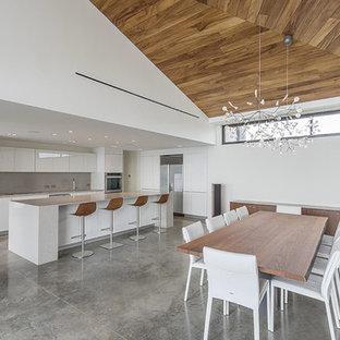 Foto de comedor de cocina contemporáneo, grande, con paredes blancas, suelo de cemento y suelo gris