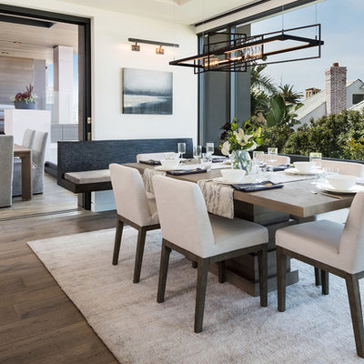 Dining room - mid-sized contemporary dark wood floor dining room idea in San Diego with white walls and no fireplace