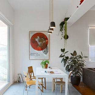 Cette photo montre une petit salle à manger ouverte sur la cuisine scandinave avec un mur blanc, un sol en linoléum et aucune cheminée.