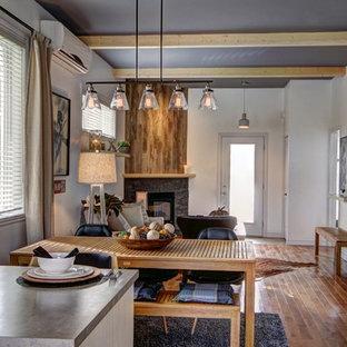 Diseño de comedor de cocina industrial, de tamaño medio, con paredes blancas, suelo de madera en tonos medios, chimenea de esquina y marco de chimenea de piedra