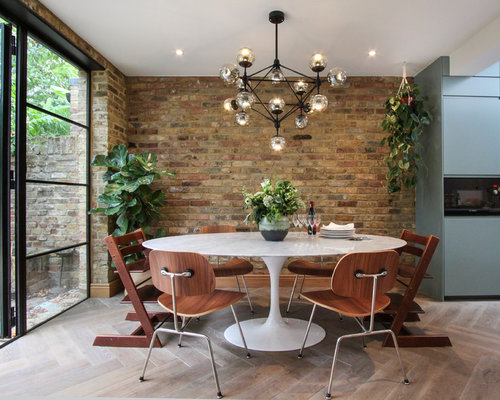 Medium Sized Contemporary Kitchen/dining Room In London With Light Hardwood  Flooring, White Floors