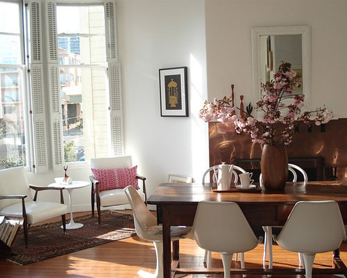 Example Of An Eclectic Medium Tone Wood Floor Dining Room Design In San  Francisco With White Part 53