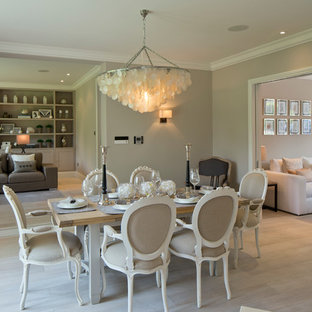 Cottage chic light wood floor dining room photo in London with beige walls