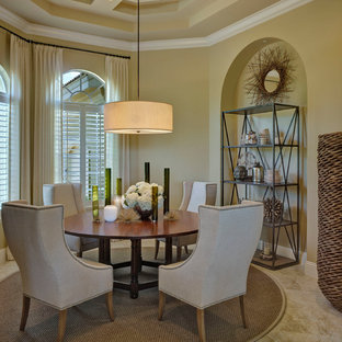 Dining room - transitional dining room idea in Miami with beige walls