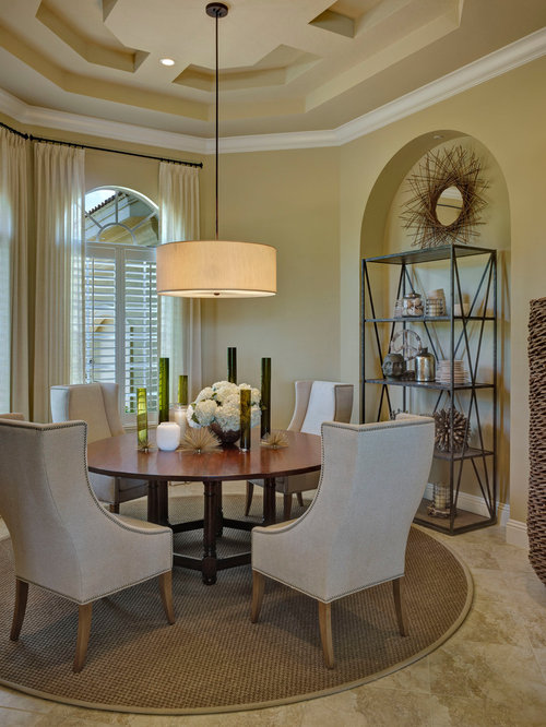 Transitional Dining Room Idea In Miami With Beige Walls