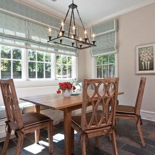 Inspiration för klassiska matplatser, med grå väggar och skiffergolv