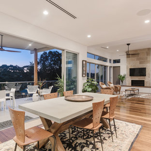 This Is An Example Of A Contemporary Open Plan Dining In Sydney With White  Walls,
