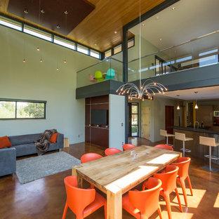 Imagen de comedor de cocina minimalista, de tamaño medio, con paredes blancas, suelo de cemento, chimenea lineal, marco de chimenea de metal y suelo marrón