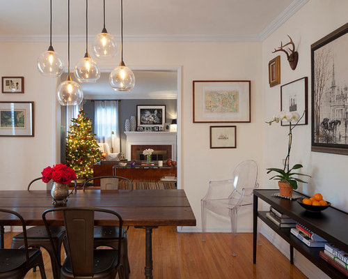 Inspiration For An Eclectic Medium Tone Wood Floor Enclosed Dining Room  Remodel In Los Angeles With