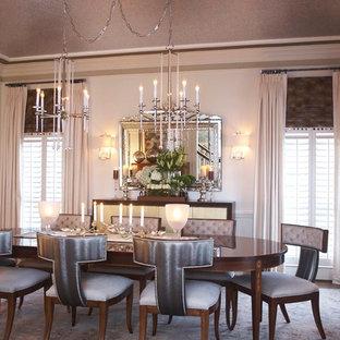 Idee per una sala da pranzo aperta verso il soggiorno eclettica di medie dimensioni con pareti bianche e parquet scuro